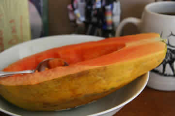 Papaya and coffee