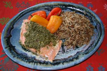 Salmon and Pesto with Peppers and Wild Rice